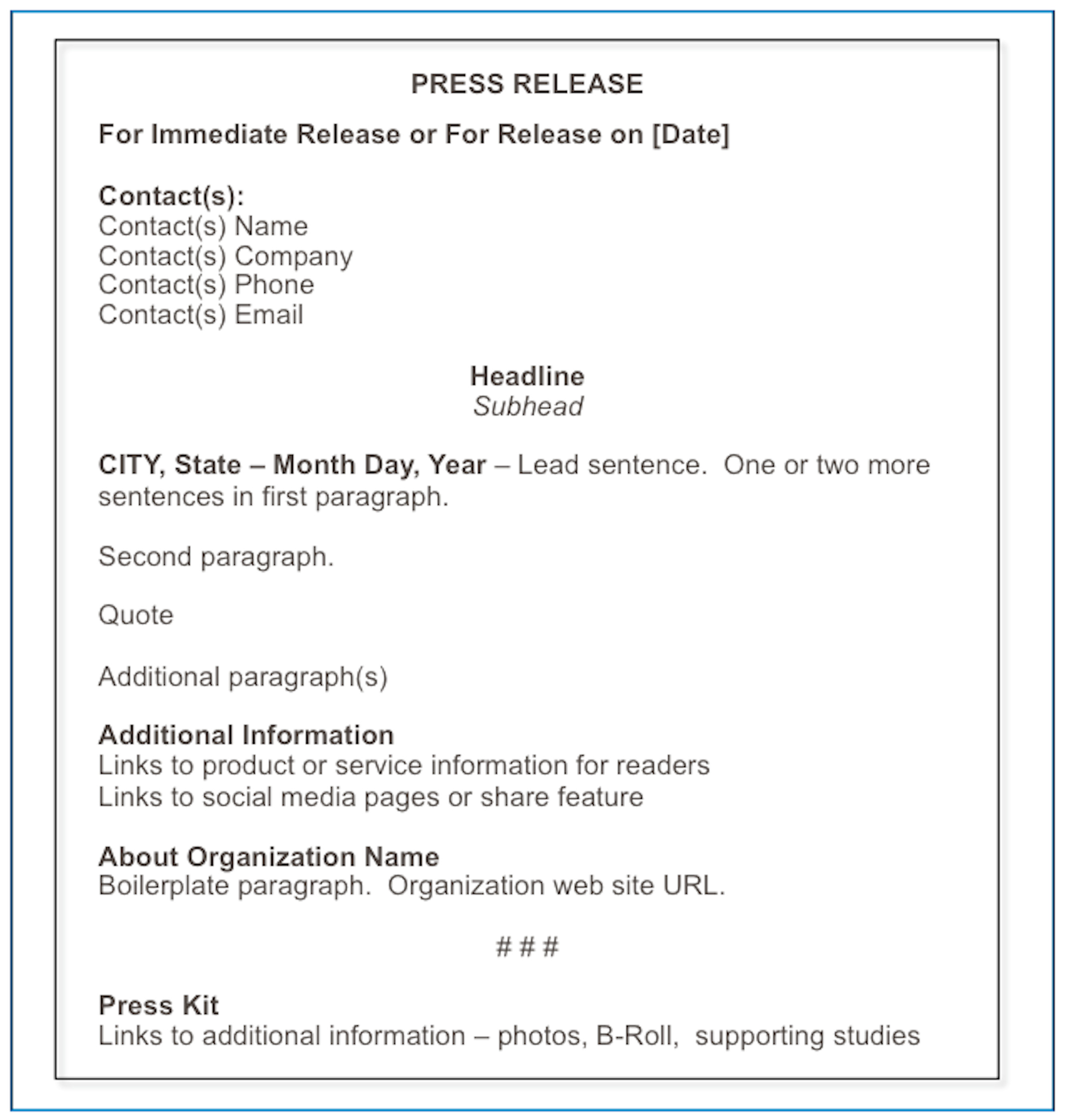 band press release template - how to format a press release matthews on marketing